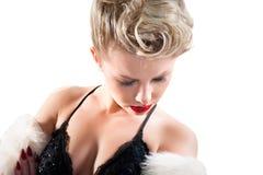 attraktiv blond flicka isolerad blyg white Arkivbilder