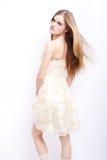 attraktiv blond modell Arkivbild