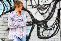 attraktiv blond pojke Arkivbilder