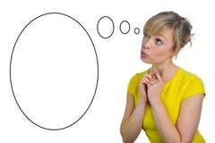 attraktiv blond tänkande kvinna Fotografering för Bildbyråer