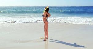 Attraktiv brunett med att snorkla utrustning stock video