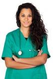 attraktiv brunettdoktor Arkivbilder