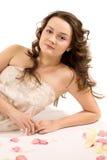 attraktiv brunettflicka Fotografering för Bildbyråer