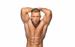 Attraktiv byggmästare för manlig kropp på vit bakgrund arkivfoton