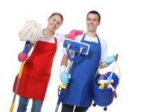 attraktiv cleaningmankvinna royaltyfria bilder