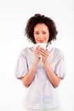 attraktiv dricka kvinna för kaffekopp Fotografering för Bildbyråer