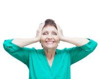 Attraktiv emotionell kvinna 50 gamla år, isolerat på vit backg Royaltyfria Bilder