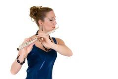 attraktiv flautist Royaltyfri Foto