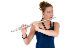 attraktiv flautist arkivbild