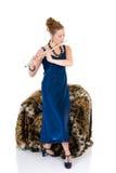 attraktiv flautist royaltyfri fotografi