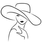 Attraktiv flicka i bredbrättad hatt stock illustrationer