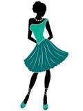 Attraktiv flicka i turkosklänning royaltyfri illustrationer