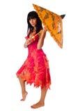 Attraktiv flicka med paraplyet Royaltyfria Bilder