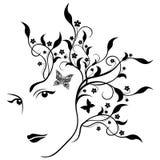 Attraktiv flicka med växt- hår royaltyfri illustrationer