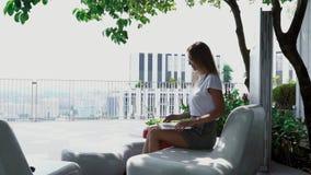 Attraktiv flicka som utomhus arbetar p? b?rbara datorn arkivfilmer