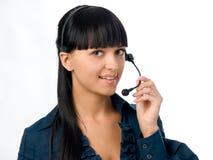 attraktiv flickahörlurar med mikrofon Royaltyfria Bilder