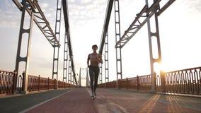 Attraktiv hög kvinna som joggar på bron stock video