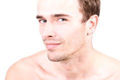attraktiv head skjuten manmodellporträttering Arkivfoto