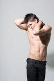 Attraktiv idrotts- man, naken torso Fotografering för Bildbyråer