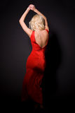 attraktiv klänningflickared Royaltyfria Bilder