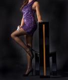 attraktiv klänningladypink arkivbild