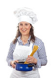 attraktiv kockkvinna Arkivbild