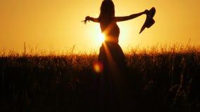 Attraktiv konturdans för ung kvinna utomhus på en soluppgång med solen som skiner ljust behind henne på en horisont skott 4k lager videofilmer