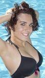 Attraktiv kvinna i baddräkt Arkivbild