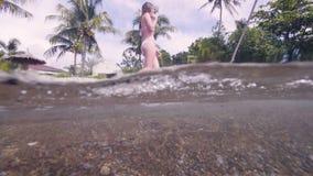 Attraktiv kvinna i bikini som går på vattenhavsstranden på palmträdbakgrund Härlig flicka för vattenlinjesikt i baddräkt lager videofilmer