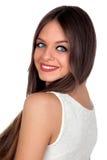 Attraktiv kvinna med blåa ögon royaltyfri fotografi