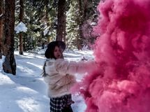 Attraktiv kvinna med en färgrik rökgranat arkivfoto