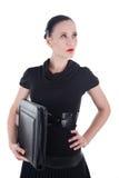 Attraktiv kvinna med läderfallet Arkivfoton