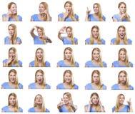 Attraktiv kvinna med olika gester och sinnesrörelser Royaltyfri Bild
