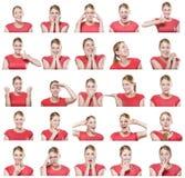 Attraktiv kvinna med olika gester och sinnesrörelser Royaltyfri Foto