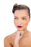 Attraktiv kvinna med röda kanter Arkivbild