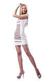 Attraktiv kvinna på white Arkivbild
