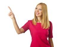 Attraktiv kvinna som trycker på knappar Arkivfoto