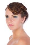 Attraktiv kvinnastående med fräknar Royaltyfria Foton