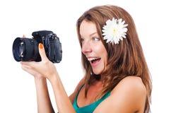 Attraktiv kvinnligfotograf Royaltyfri Fotografi