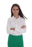 Attraktiv le affärskvinna som isoleras över vit royaltyfri foto