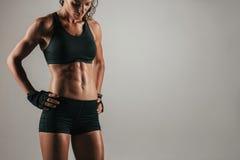Attraktiv muskulös kvinna med stark abs royaltyfria foton
