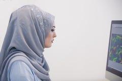 Attraktiv muslimsk ung kvinna som i regeringsställning arbetar på datoren Arkivbild