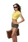 attraktiv resväskakvinna Arkivfoton