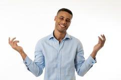 Attraktiv s?ker lycklig och lyckad entrepren?raff?rsman som isoleras p? vit royaltyfri fotografi