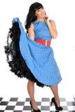 Attraktiv sexig lycklig ung Posing In Retro för tappningutvikningsbildmodell polka Dot Dress Royaltyfri Fotografi