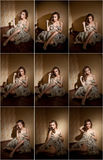 Attraktiv sexig ung kvinna som slås in i ett sammanträde för pälslag i hotellrum Stående av den sinnliga kvinnlign som dagdrömmer Arkivbild