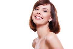 attraktiv skratta model stående royaltyfri fotografi