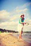 attraktiv strandkvinna Royaltyfria Foton