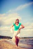 attraktiv strandkvinna Fotografering för Bildbyråer