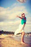 attraktiv strandkvinna Arkivfoton